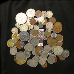 752.Nice selection of Foreign Coins and Medals, includes some silver.