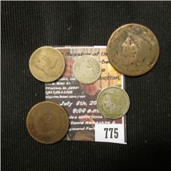 775.Old U.S. Large Cent; 1858 U.S. Flying Eagle Cent; 1864 U.S. Two Cent Piece; 1868 U.S. Three Cent