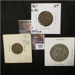 777.1867 U.S. Two Cent Piece; 1857 U.S. Flying Eagle Cent; & 1944 P U.S. Walking Liberty Silver Half