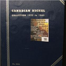 781.1922-60 Nearly Complete Set of Canada Nickels in a blue Whitman folder. Missing the 1924, 25, 26