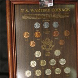"791.Glass framed ""U.S. Wartime Coinage"", all the Coins are Brilliant Uncirculated including a comple"