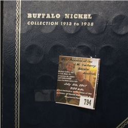 794.1920-30 Partial Set of Buffalo Nickels in a blue Whitman folder.