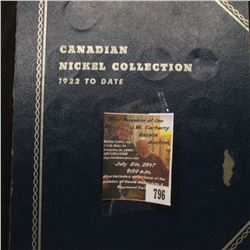 "796.Blue Whitman folder for ""Canadian Nickel Collection 1922 to Date"" includes a few Canada Nickels,"