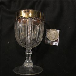 "801.5.5"" tall Goblet with Gold Trim. 'Doc' states that this was the ""Iowa State Pattern""; & 1922 D U"