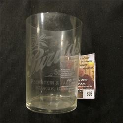 "806.Advertising Crystal Glass ""Puritas Select Pechstein & Nagel Keokuk, Iowa"", 3 3/8""."