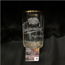 "807.Advertising Crystal Glass ""Independent Malting Co. Davenport, Iowa."" 3 1/2""."