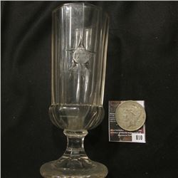 "810.7"" Lead Glass Crystal Goblet ""1776 1876""; & 1923 D U.S. Peace Silver Dollar, Fine."