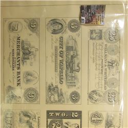"813.Framed Print of the ""American Bank Note Company"" depicting six of their notes."