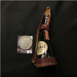 "815.Bottle shaped as a Powder Flask, amber glass with leather attachments, ""George Dickel Tennessee"