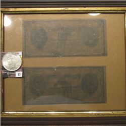 "831.Framed Pair of ""Progressive Party"" tickets; & 1923 P U.S. Peace Silver Dollar, BU."