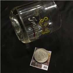 "844.""Imperial"" lead glass crystal mug; & 1922 S U.S. Peace Silver Dollar, Fine."