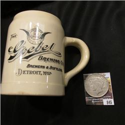"845.""The Goebel Brewing Co. Brewers & Bottlers Detroit, Mich."" Mug; & 1922 D U.S. Peace Silver Dolla"