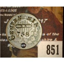 "851.1870 Shield Nickel Counter marked by Oddfellows Lodge during the 1919 Centennial ""Centennial OOO"
