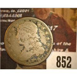 852.1834 Capped Bust Silver Quarter Counter marked with George Washington, small bust.