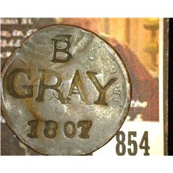 "854.1806 British Half Penny Counter marked ""B, Grey, 1807 Obverse BB Second B has a Hammer through i"