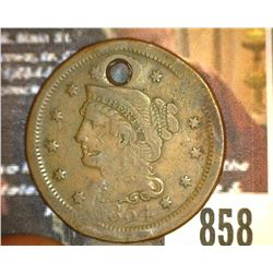 "858.1854 US Large Cent Holed Counter marked on Rev. ""W.J. Mea"""