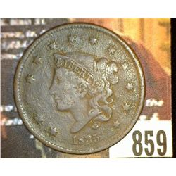 "859.1835 US Large Cent Counter marked on Rev. "" E. Foot"""