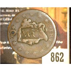 "862.1816 US Large Cent Holed and Counter marked ""WC""."