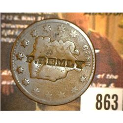 "863.1829 US Large Cent Counter marked ""E. Remly""."