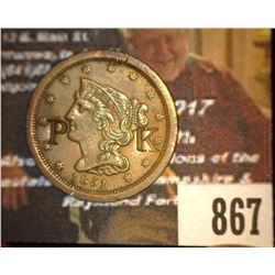 "867.1851 US Half Cent Counter marked ""PK""."