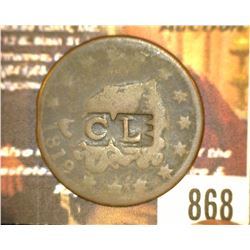 "868.1818 US Large Cent Counter marked ""CL""."