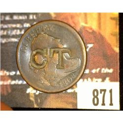 "871.1808 US Half Cent Counter marked ""CT"" on Obverse."