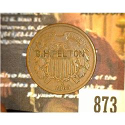 "873.1865 US 2 Cent Piece Counter marked ""C.H. Pelton"" who was a Gunsmith."