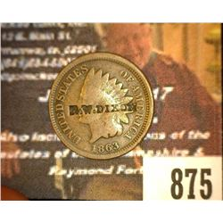 "875.1863 Indian Head Cent Counter marked ""R.W. Dixon"""