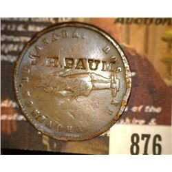 "876.1852 Quebec Bank Token Counter marked ""J.H. Baum"""