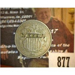"877.1869 Shield Nickel Counter marked "" I, Keen"""