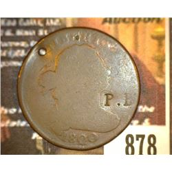 "878.1800 US large Cent Holed and Counter marked ""P.B."""
