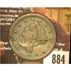 "884.18__ Large Cent Counter marked "" H.S. Burges"".  Brunk 5930."