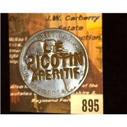 "895.1862 British Large Penny Counterstamp ""Le Picotin Aperitif"" Advertising Token."