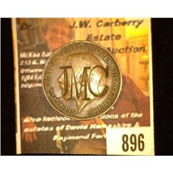"896.1915 Great Britain Half Penny Counterstamp ""JMC""."
