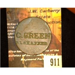 "911.Unreadable US Large Cent Counter marked ""C. Green, P.H. Shaffer"""