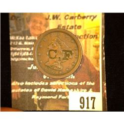 "917.1857 US Half Cent Counter marked ""C.F' Photo In Brunk's Book."
