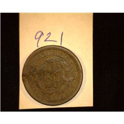 "921.1849 US large Cent Counter marked ""M. Wats""."