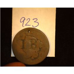 "923.1820 US large Cent Counter marked ""IB""."