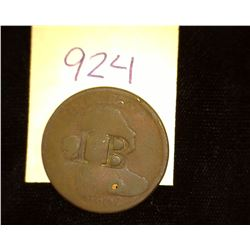 "924.1802 US large Cent Counter marked ""IB""."