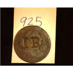 "925.1801 US large Cent Counter marked ""IB""."