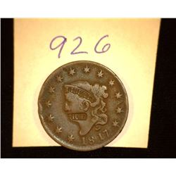 "926.1817 US large Cent Counter marked ""RF""."