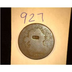 "927.1798 US large Cent Counter marked ""RF""."