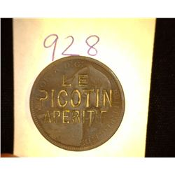 "928.1862 British Large Cent Counter marked ""Le Picotin Aperitif""."