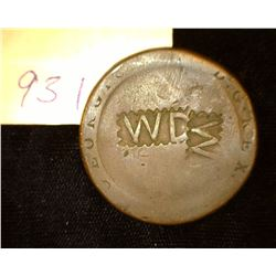 "931.1790's British Penny Cartwheel Counter marked Obv. ""WD"" Rev. ""W. Measures"""
