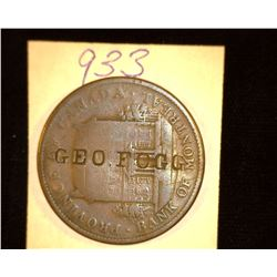 "933.1842 Canada Penny Bank Token Counter marked ""Geo. Fogg"""