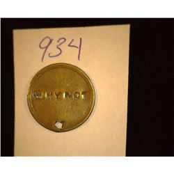 "934.1800's Victoria Regina Token Counter marked ""Why not""."