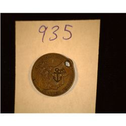 "935.ND Holed British Victoria Medal Counter marked ""Anchor H""."