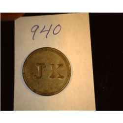"940.1800's Victoria Regina Token Counter marked ""JK""."
