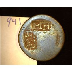 "941.1790's British Penny Cartwheel Counter marked Obv. & Rev. ""MH""."