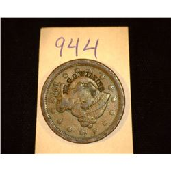 "944.1843 US Large Cent Counter marked ""Dr. G.G. Wilkins""."